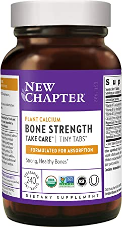 New Chapter Calcium Supplement (Tiny Tabs) – Bone Strength Whole Food Calcium with Vitamin K2 + D3 + Magnesium, Vegetarian, Gluten Free – 240 ct
