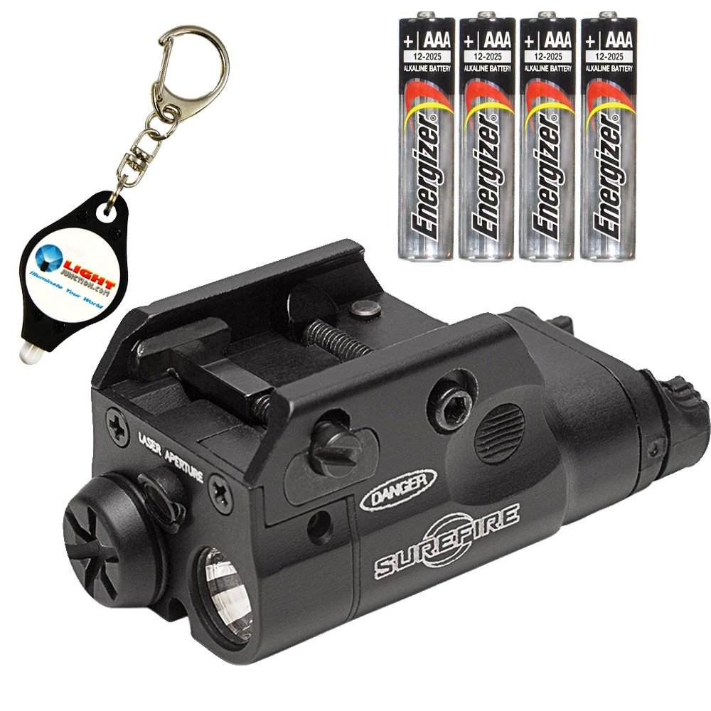 SureFire XC2 Weaponlight Ultra Compact LED with Red Laser Handgun Light with 4 Extra Energizer AAA Batteries and Lightjunction Keychain Light
