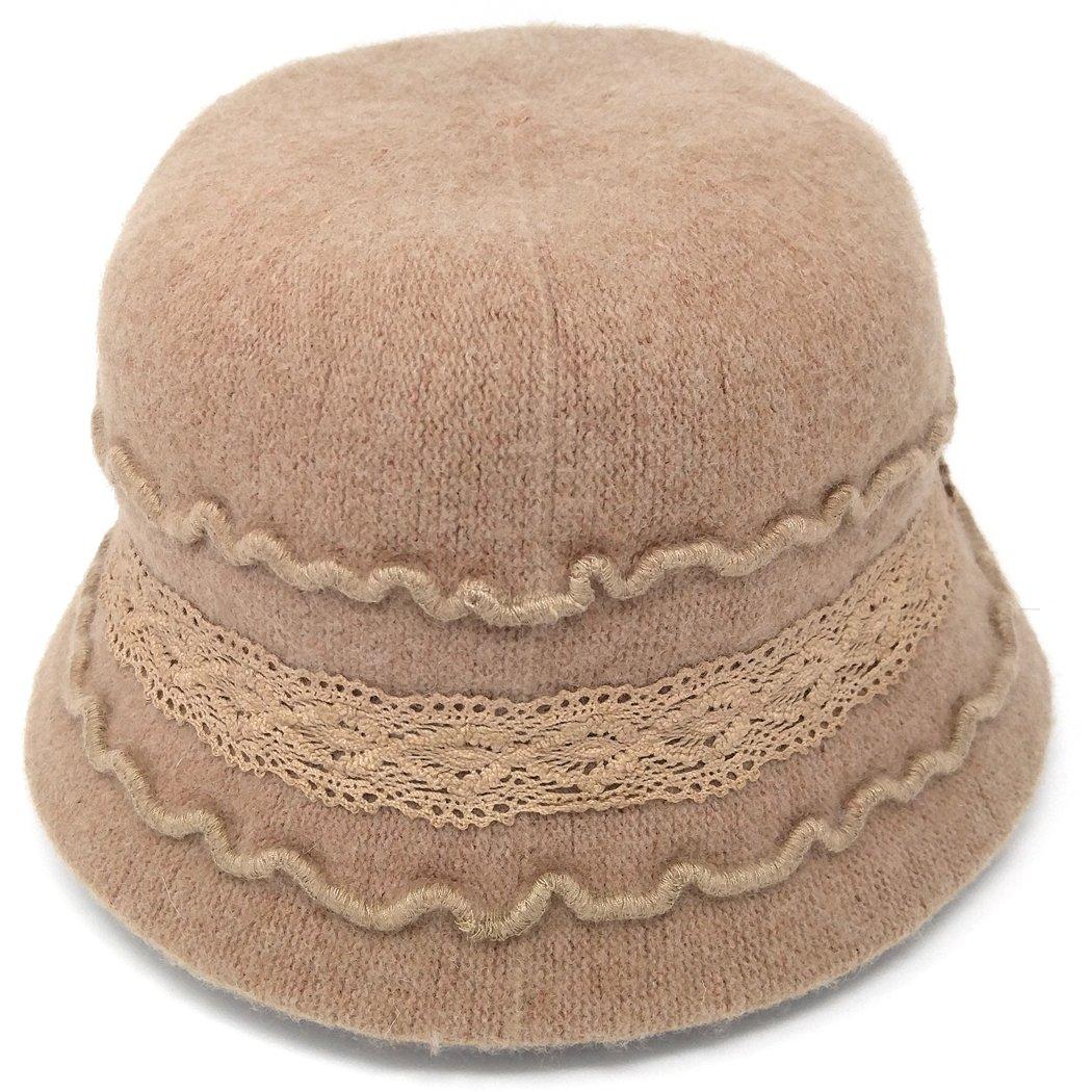 MWS Cute 1920s Warm Wool Cloche Bucket Hat, Packable Winter Vintage Bowler Cap (Tan)
