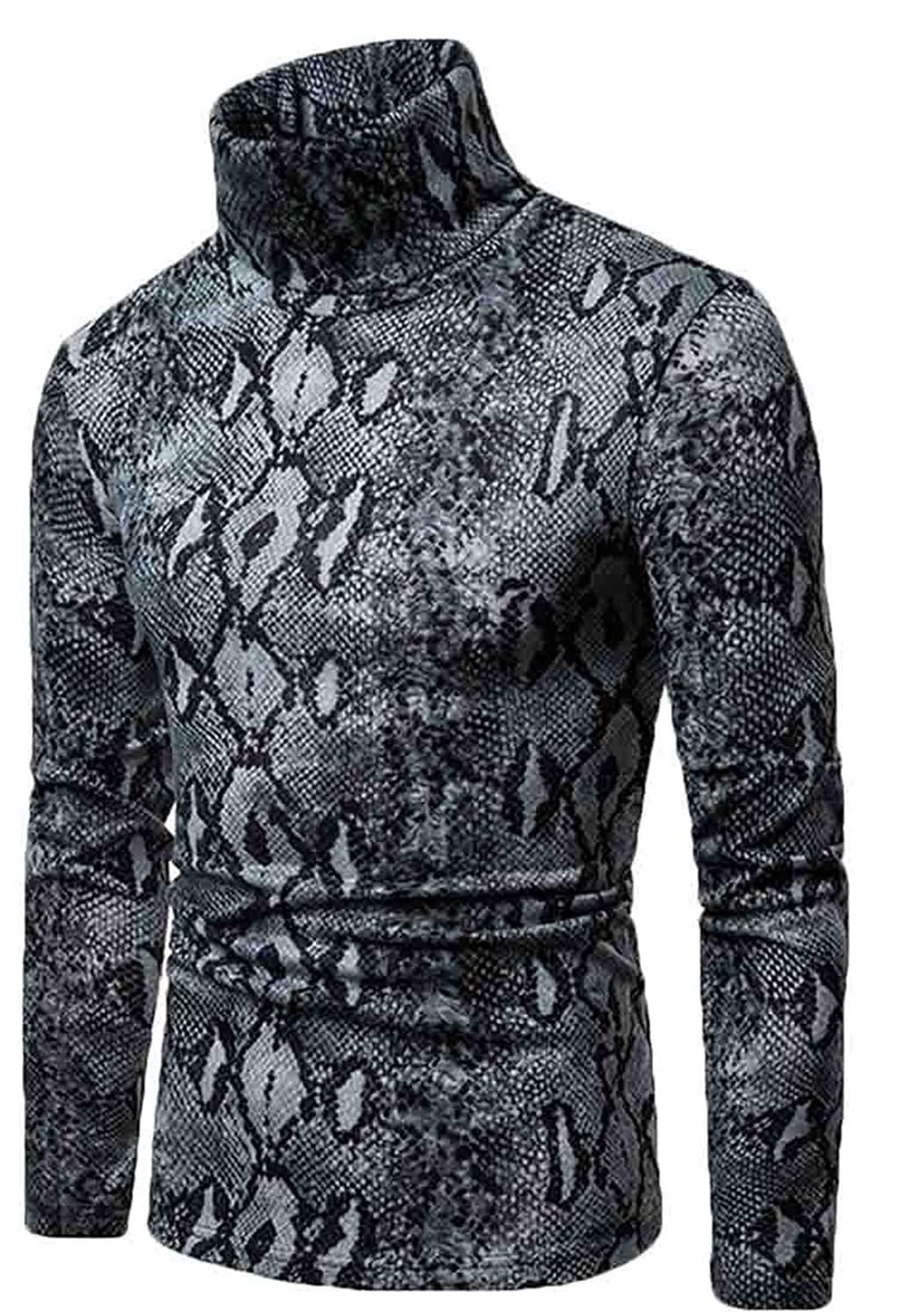 Frieed Men Turtleneck Warm Leopard Winter Long Sleeve Tops Pullover Knitting Sweater