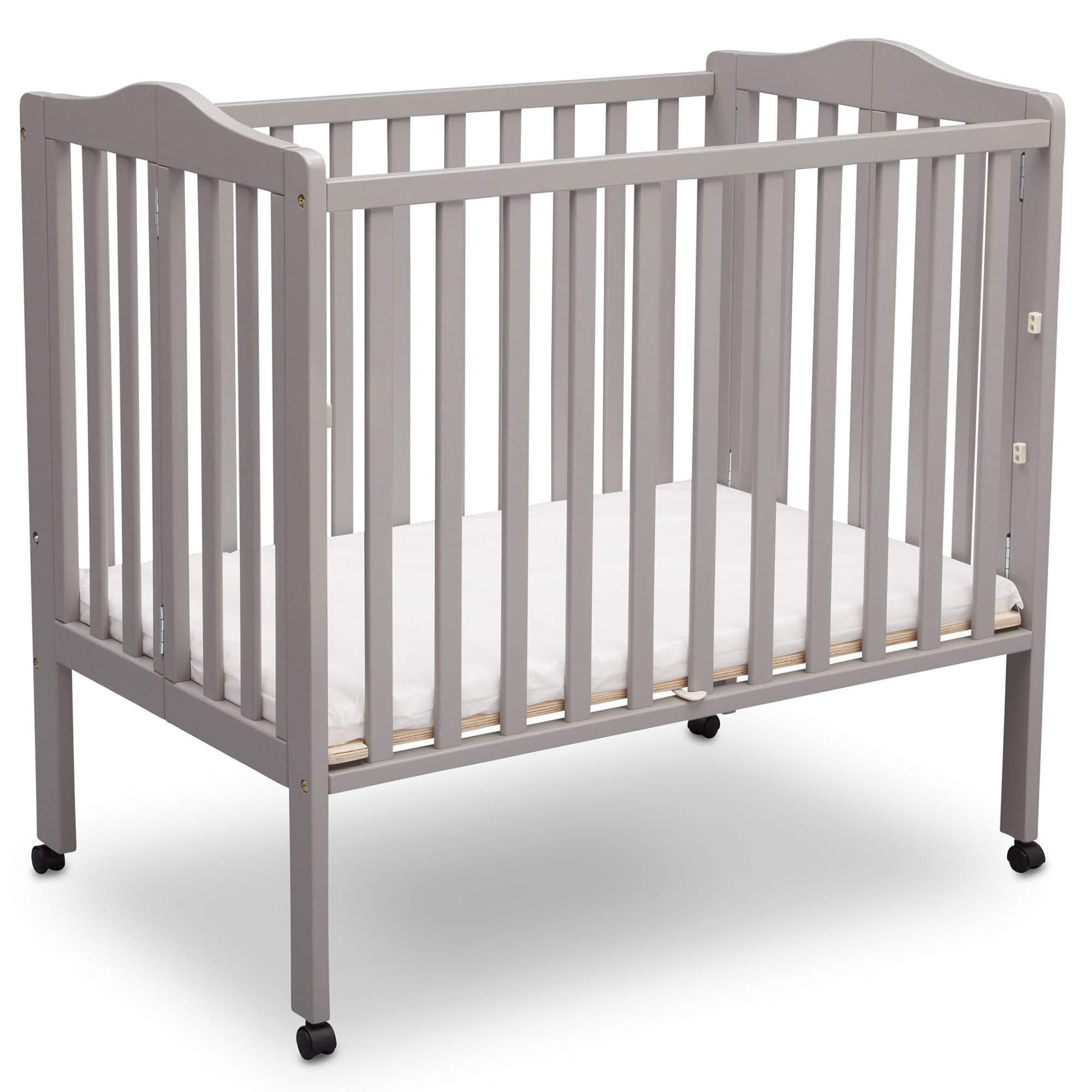 Delta Children Delta Children Folding Portable Mini Baby Crib with Mattress, Light Grey, Light Grey