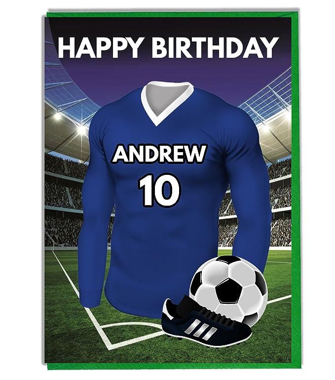 Diseño de Everton diseño de camiseta de fútbol Tarjeta de cumpleaños tarjeta de felicitación y sobre: Amazon.es: Hogar