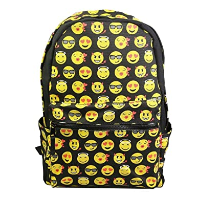 f3fc29743a Katomi New QQ Printing Emoji Backpack Canvas Travel Satchel Cute Gril  School Rucksack (Black)  Amazon.co.uk  Clothing