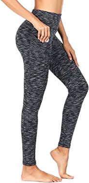 Women's High Waist Yoga Pants with Side Pockets & Inner Pocket Tummy Control Workout Running 4-Way Stretch Sports Leggings