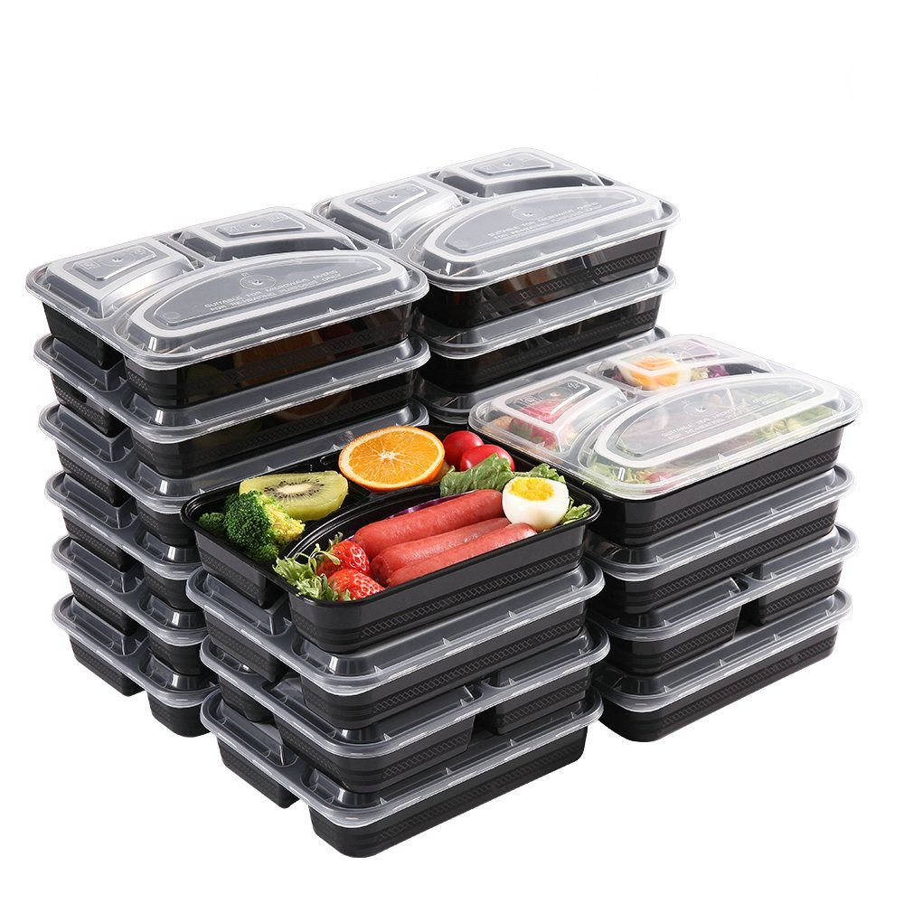 Meal Prep Containers [20 Pack] 3 Compartment Food Prep Containers BPA Free Reusable Stackable Bento Lunch Box Containers Microwave Dishwasher Freezer Safe,meal prep cookbook Ebook include(32 oz)