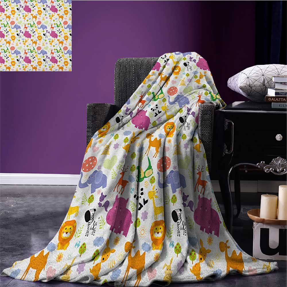 Cartoon Animal wearable blanket Love of Nature Theme Children Kids Pattern with Exotic Zoo Comic Characters security blanket Multicolor size:50''x60''