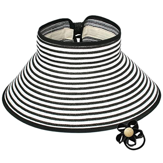 0d906608 kilofly Roll Up Wide Brim Sun Visor Hat - for Women - Black, with Cute