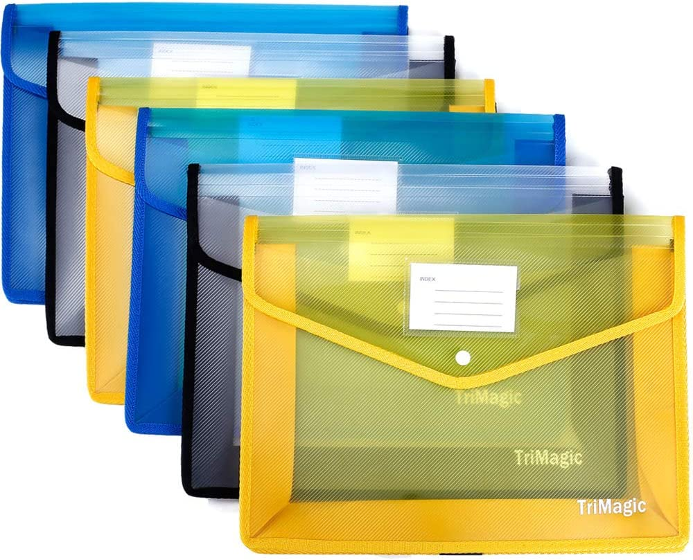 """[6 Pack] Plastic Folders with Closure and Pockets, TriMagic Expandable Envelope Wallet, 14.5""""x11"""", 2.8"""" Expansion, Office Clear File Folder with Business Card Holder"""