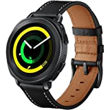 VICARA Compatible Samsung Galaxy Watch (46mm) Bands, Genuine Leather Replacement Band with Stainless Steel Buckle Accessory Wristband Strap Compatible Samsung Galaxy Watch 46mm SM-R800/SM-R805 Smart Watch (Black)