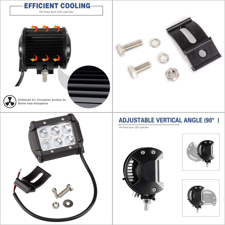 ATV Faros adicionales Offroad Focos LED Tractor 12V 24V 4320LM IP67 Impermeable Luz antiniebla para Camiones Todo Terreno SUV 6500K Hengda 10X 18W Faro de trabajo