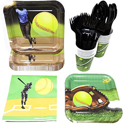 Softball Party Supplies (113+ Pieces for 16 Guests!), Softball Birthday Party Kit, Softball Tableware Pack, Decorations: Health & Personal Care