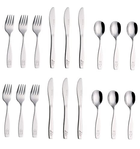 Exzact Stainless Steel 18 PCS Childrens Flatware/Kid Silverware/Cutlery Set - 6 x