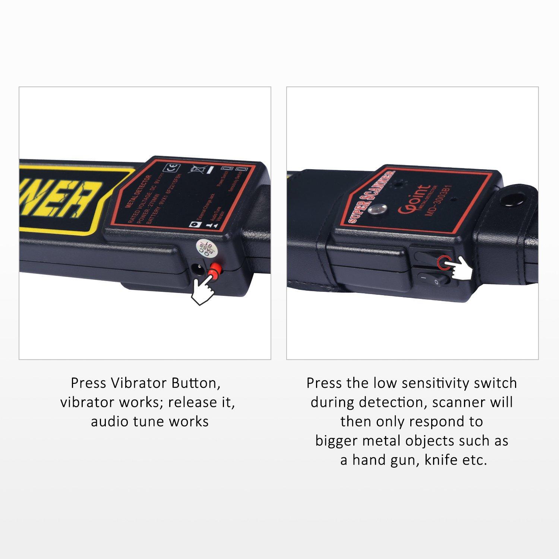 Valetin - Escáner de Seguridad de Mano con Detector de Metales con Soporte para Cinturón, sensibilidad Ajustable y Modos de Vibración: Amazon.es: Jardín