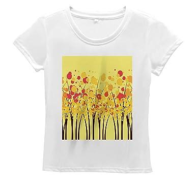 19072d93bd769 Lunarable Yellow Women's T Shirt, Colorful Autumn Fall Forest, Short ...