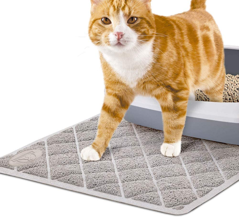 Pet Union Jumbo Cat Litter Mat, 35 x 22 in, Fashionable Design, Phthalate Free, Captures and Traps Litter, Slip-Resistant, Soft on Paws, Premium Comfort for Your Furry Friend! (Light Grey)