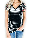 LuckyMore Womens Casual Floral Print Striped V Neck Short Sleeve T Shirts Tops Tunic