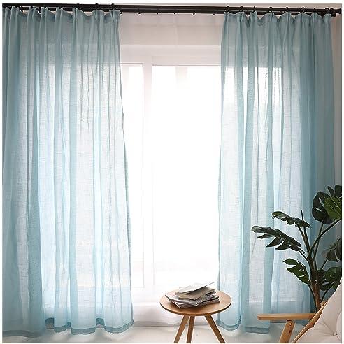 Cystyle 1er Gardinen Vorhänge Transparent Leinen Optik Mit Kräuselband ,  Vorhang Voile Fensterschal Dekoschal Für Wohnzimmer