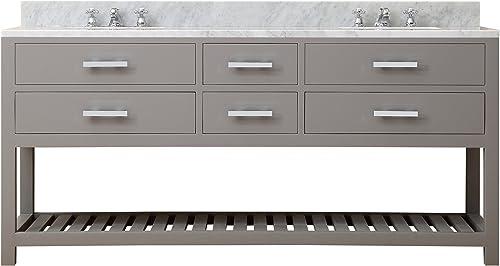 Water Creation Madalyn 72G 72″ Cashmere Grey Double Sink Bathroom Vanity