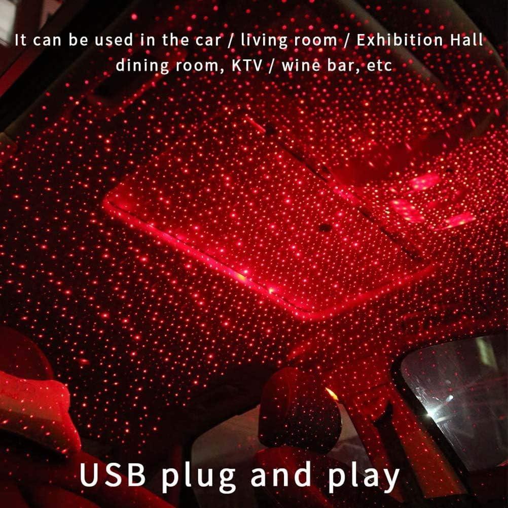 romantiche luci da tetto per auto BASOYO luci da soffitto rosso Luci rotanti a stella romantiche usb per auto e feste in casa luci decorative per interni auto