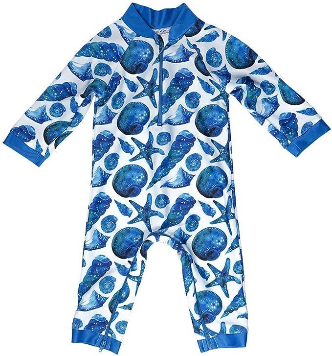 Whaley Cute Baby Swimsuit Certified UPF 50+ Easy Inseam Diaper Zipper