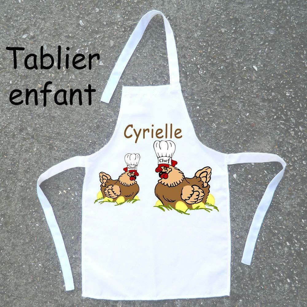 Tablier de cuisine enfant Poule à personnaliser avec un Prénom (ex. Cyrielle)