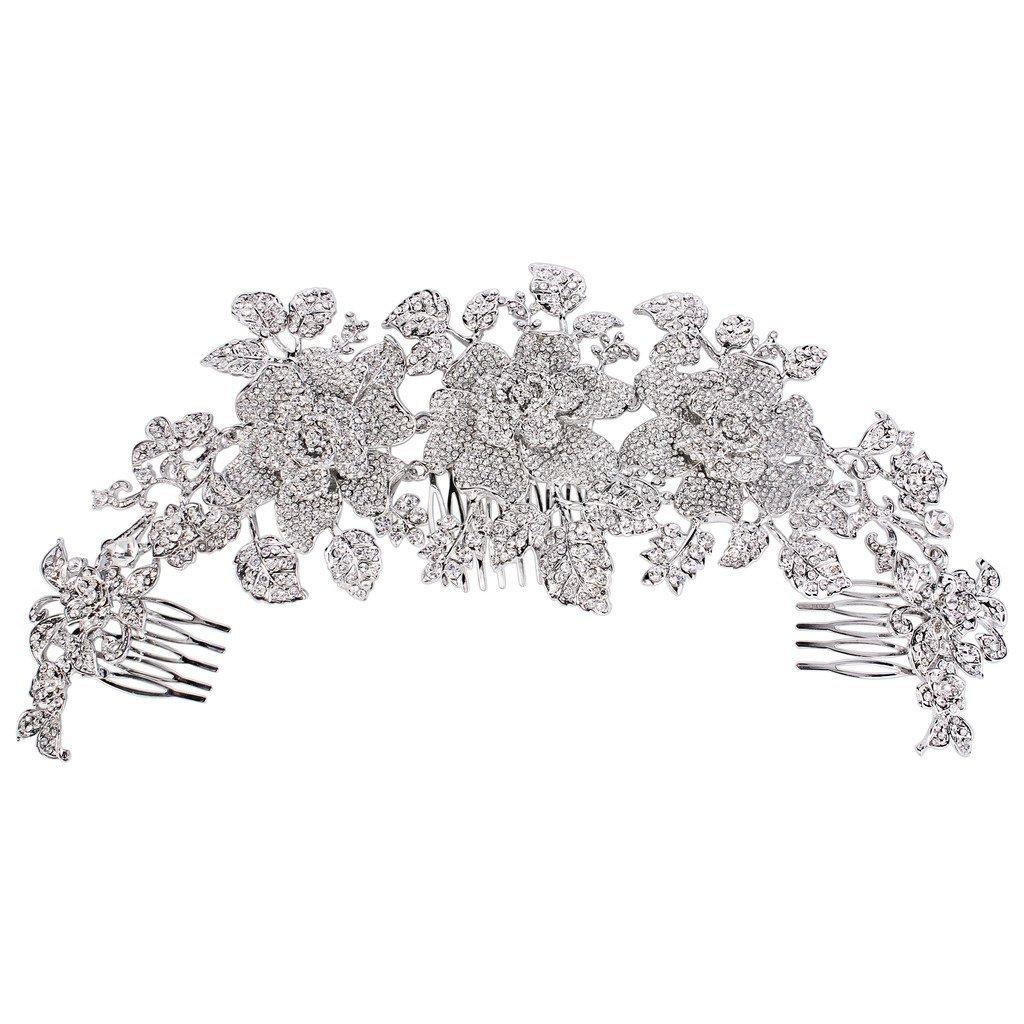 EVER FAITH Women's Austrian Crystal Big Bridal Flower Cluster Hair Side Comb Clear Silver-Tone
