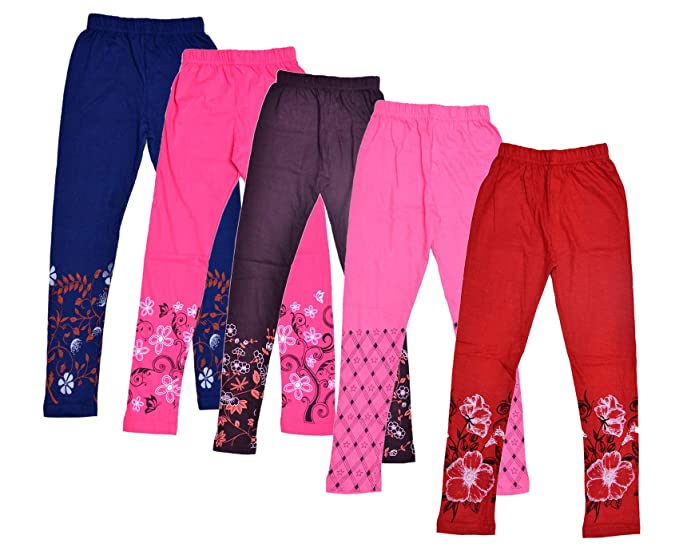 78d45a351f5f Indiweaves Girl's Printed Leggings Pack Of 5: Amazon.in: Clothing ...