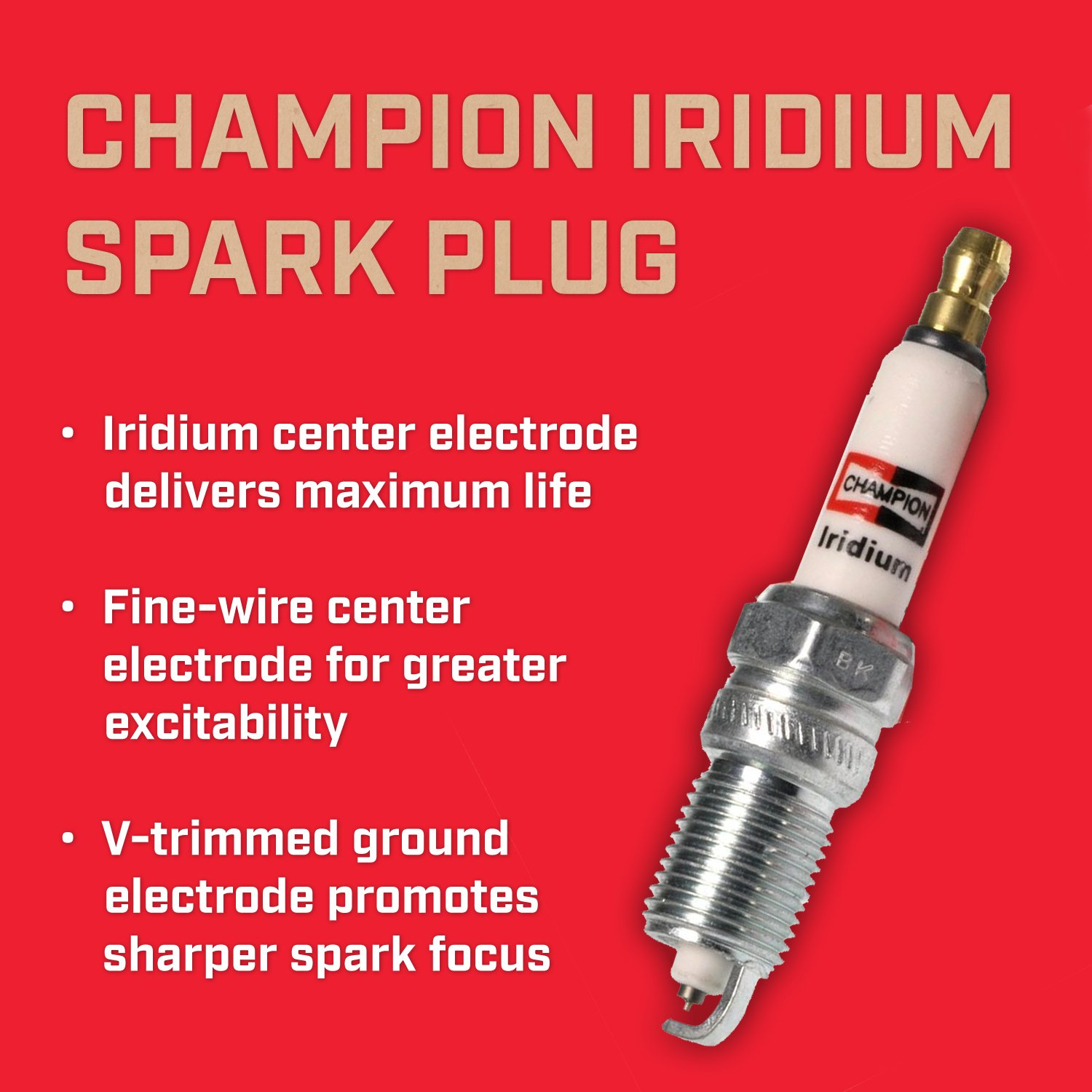 Amazon.com: Champion RS14WMPB4 (9405) Iridium Replacement Spark Plug, (Pack of 1): Automotive