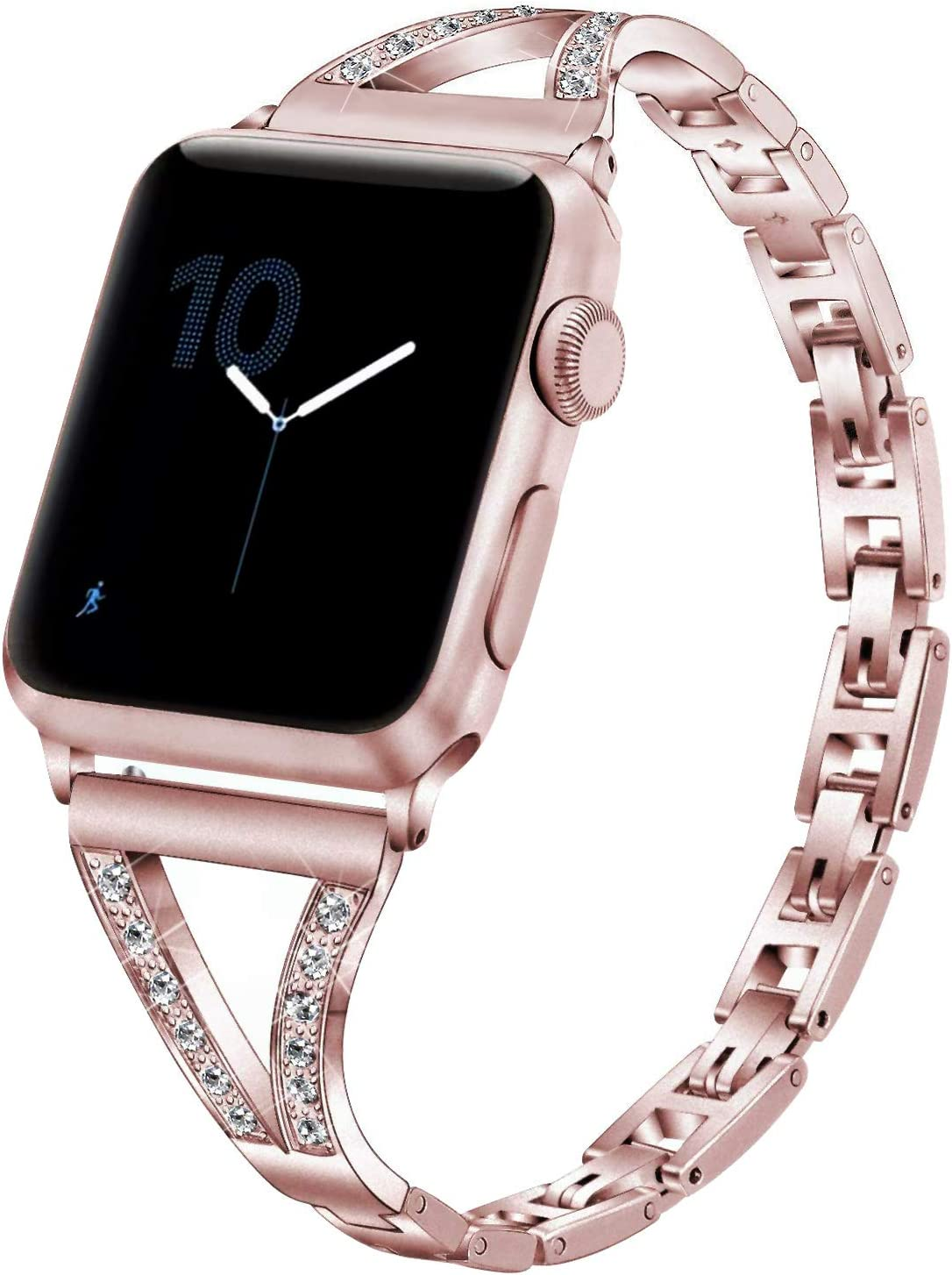 Amazon Com Compatible With Apple Watch Bands Bling 42mm 44mm Series 6 5 4 3 2 1 Se Pugo Top Iphone Watch Bracelet Band Iwatch Cuff For Women 42mm 44mm Rose Gold