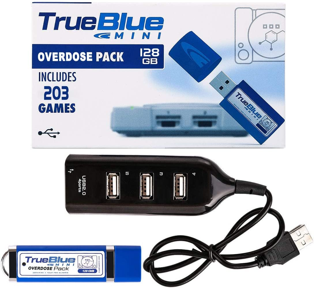 ZUJI True Blue Mini Overdose Pack con 203 Juegos 128GB para Playstation Classic