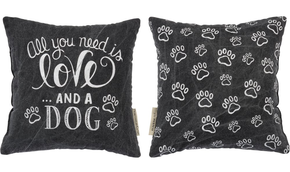 Primitives by Kathy Chalk Throw Pillow, 10-Inch Square, Love and a Dog