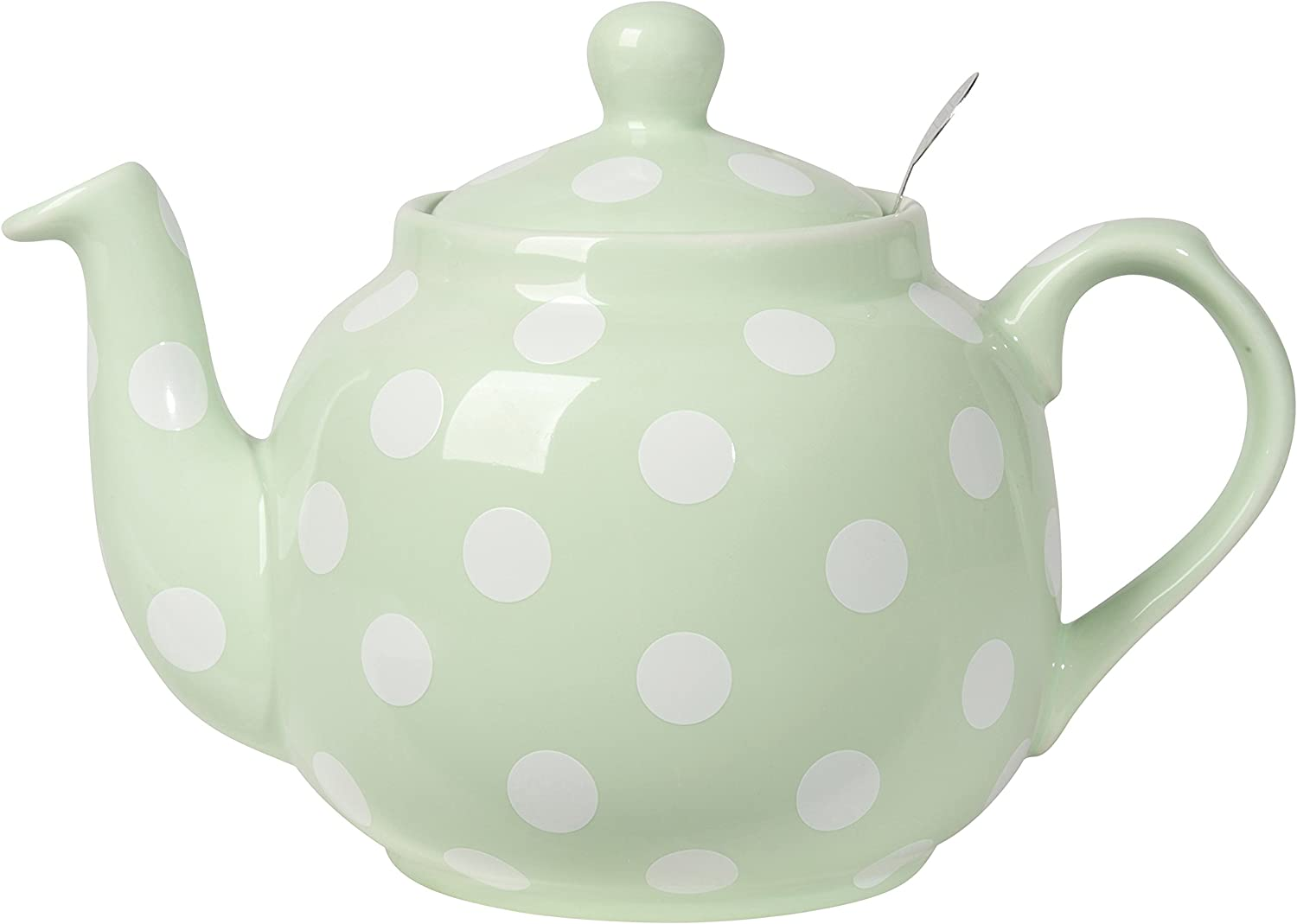London Pottery Farmhouse Teapot with Stainless Steel Infuser, 4 Cup Capacity, Mint Green with White Polka Dots