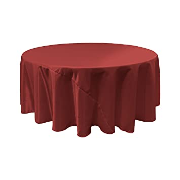 LA Linen Bridal Satin Round Tablecloth, 120 Inch, Burgundy