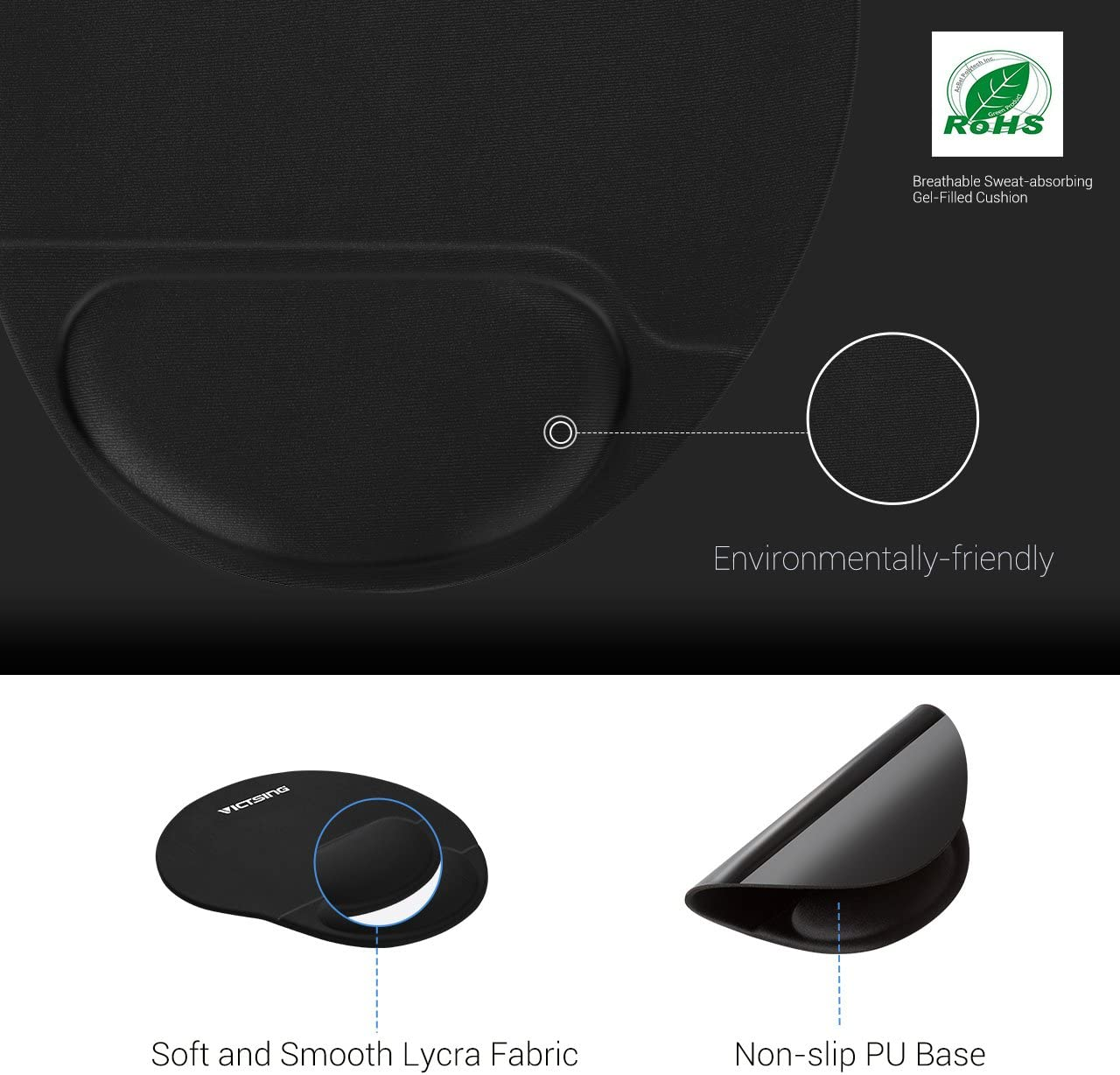VicTsing Mouse Pad Office /& Travel Gaming Mouse Pad with Lycra Cloth Black Non-Slip PU Base for Computer Laptop Home Ergonomic Mouse Pad with Gel Wrist Rest Support