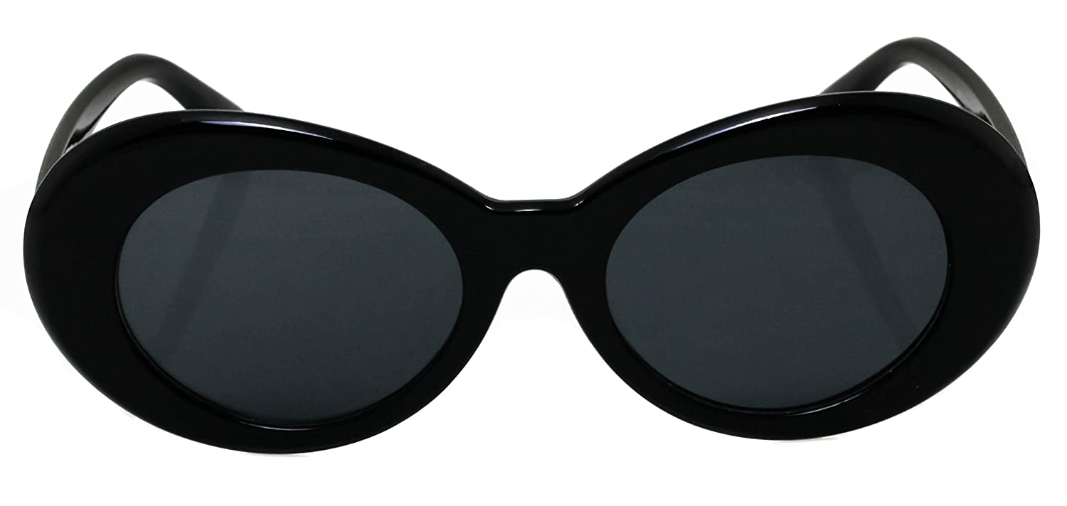 Elite Black Vintage Bold Retro Oval Mod Thick Frame Sunglasses Clout Goggles with Round Lens 51mm