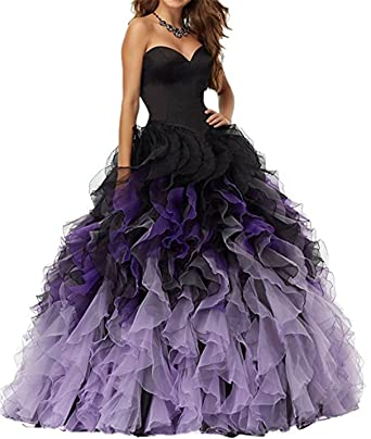 XSWPL Ball Gown Prom Dresses 2017 Sweetheart Puffy Evening Party Dress - Purple - 20