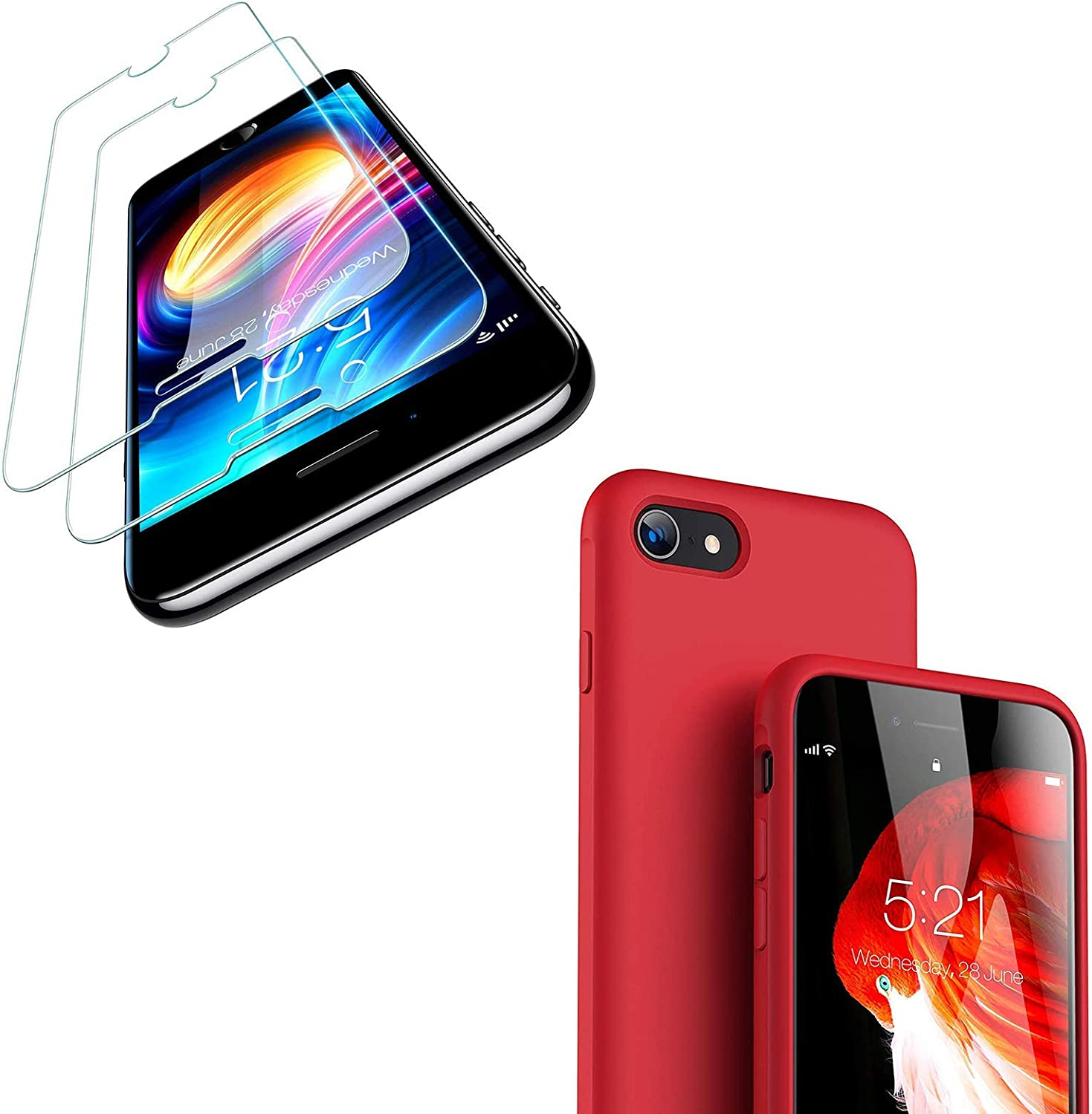 TORRAS Liquid Silicone Designed for iPhone SE 2020 Case Ruby Red & iPhone SE 2020 Screen Protector