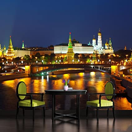 Moscow Lights At Night Wallpaper Mural Amazoncom