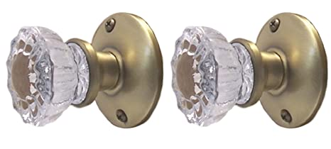 Antiques Top-of-the-Line Brushed Nickel & Fluted Crystal Glass  Privacy KNOB SET