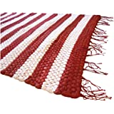 Prairie Rugs 2 x 3 cotton rugs stripped design school colors area rug Red & White