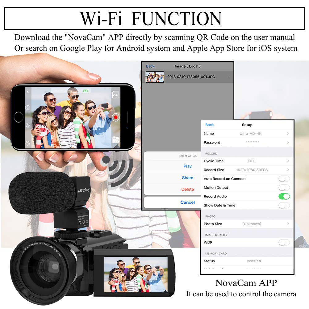 Video Camera 4K Camcorder AiTechny Ultra HD Digital WiFi