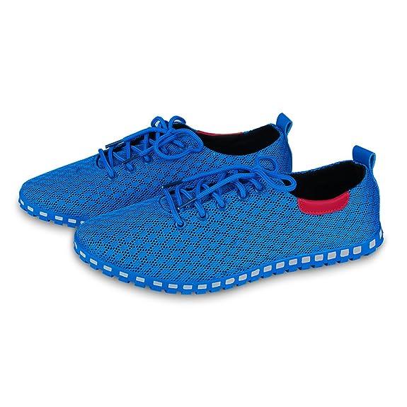 Eastiano - Zapatos de cordones de Caucho para hombre 42 EU, color azul, talla 41 EU