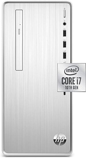HP Pavilion Desktop, 10th Gen Intel Core i7-10700 Processor, 16 GB RAM, 1 TB Hard Drive + 256 GB SSD, Windows 10 Home (TP01-1070, Silver)