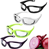 4 Pieces Onion Goggles Glasses Anti-Fog No-Tears Kitchen Onion Glasses with Inside Sponge Onion Cutting Goggles for Women Men