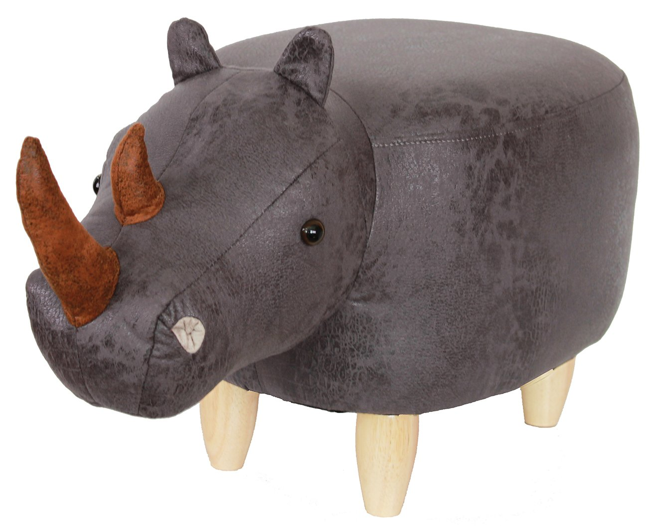 HAOSOON Animal ottoman Series Ottoman Footrest Stool with Vivid Adorable Animal-Like Features(Rhinoceros) (Grey)