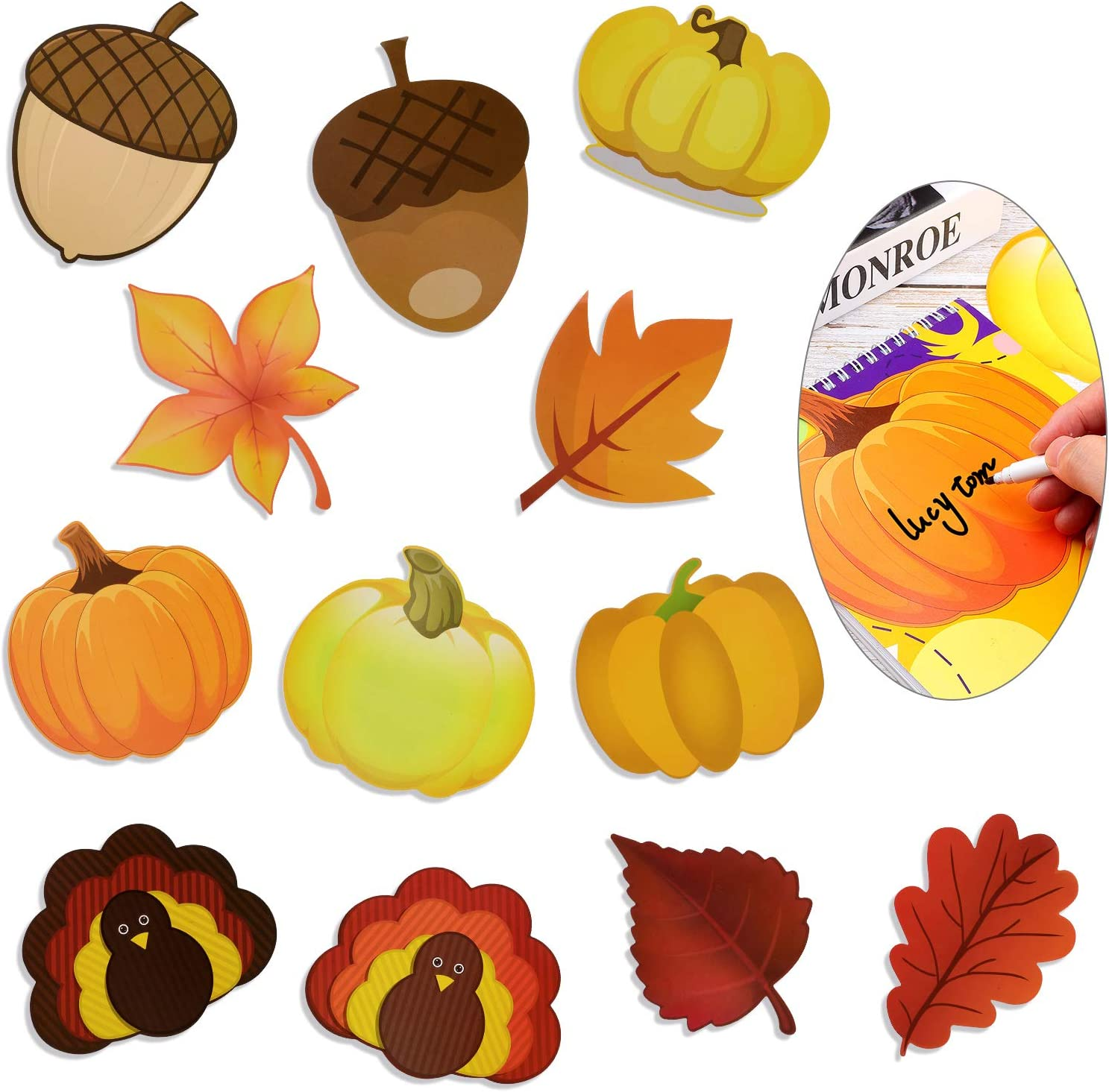 48 Pieces Thanksgiving Pumpkin Turkey Leaves Acorn Cutouts Classroom Decoration Pumpkin Colorful Happy Fall Cutouts with Glue Point Dots for Bulletin Board Classroom School Fall Theme Party