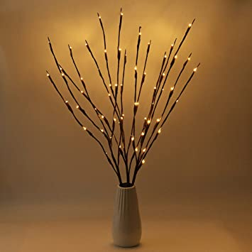 BLOOMWIN 3PACK Lighted Branch Twig Lights 30in 77cm Battery Powered Lit  Tree Twig 20LED Warm White