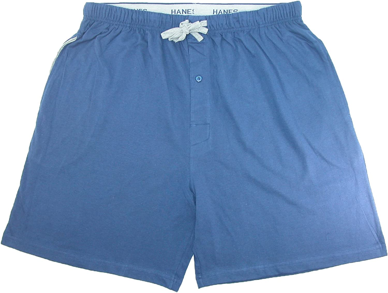 Hanes Mens Jersey Knit Cotton Button Fly Pajama Sleep Shorts