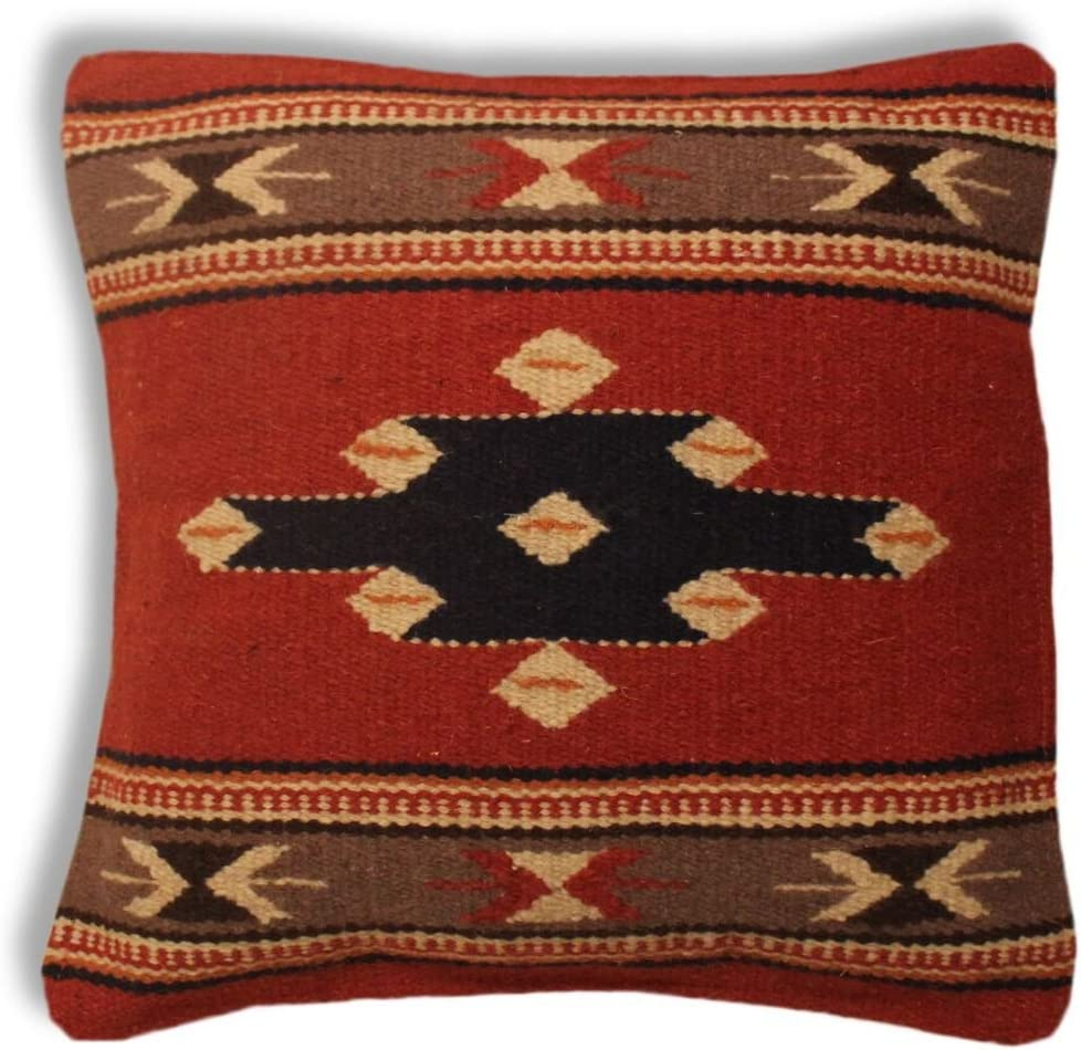 Southwest Boutique Hand Woven WOOL Throw Pillow Cover Southwest Mexican Tribal Native American Style (Santa Fe)