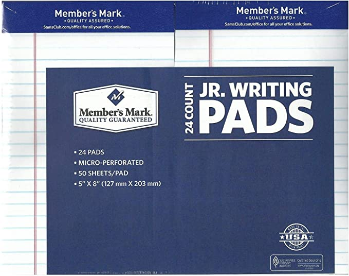 """3//Pack 5/"""" X 8/"""" White Jr Perforated Writing Pad"""